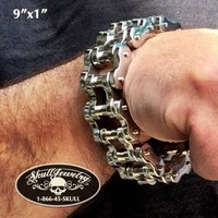 "9"" x 1"" Stainless Steel Motorcycle Chain Bracelet (804XXL)"