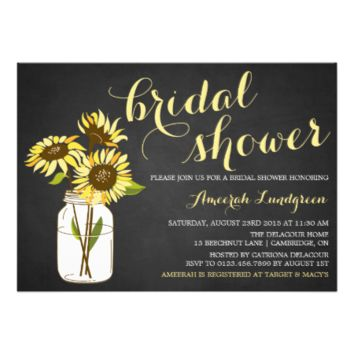 Country Chic Sunflowers Bridal Shower Invitation 5