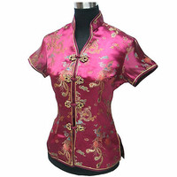 Burgundy Female Blouse Mujeres Camisa China Lady Satin Polyester V-Neck Shirt Tops Dragon Phenix Size S M L XL XXL XXXL JY044-2