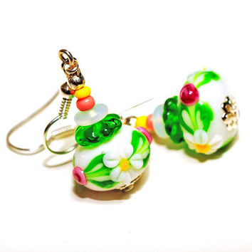 Artisan Lampwork glass Earrings Cute Flowers White by MADEbyMADA