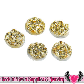 White Gold Faux Druzy Sparkly Glitter Faux Resin Stone Cabochons 12mm 20pc