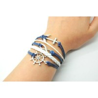 Navy Blue Rope and White Braided Leather Steampunk Adjustable Vintage Silver Karma Bracelet, infinity Wish Anchor Rudder Bracelet 1150r: Jewelry: Amazon.com