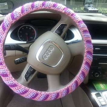 Crochet Steering Wheel Cover, Steering Wheel Cozy, Car Accessory, Summer colors