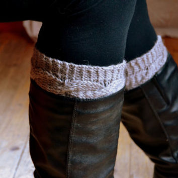 Light gray cable knit boot cuffs,  boot warmers, leg warmers, women clothing, accessories,
