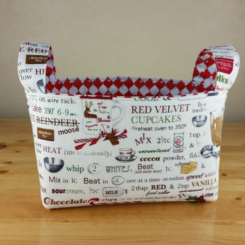 Holly Jolly Christmas by Robert Kaufman ~Medium Fabric Basket Storage Bin