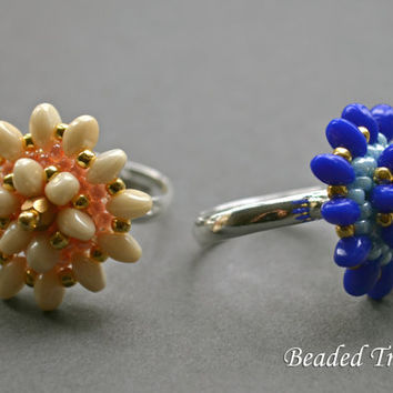 "Beadweaving tutorial for ""Flora"" Ring / Bead pattern / Beading tutorial / Ring tutorial / Solo beads tutorial / Beadwoven ring TUTORIAL ONLY"