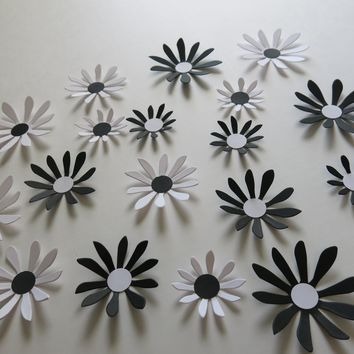 "Black and White Daisies Set, 18 big 3D wall decals, 2-3"" paper flowers, classic Wedding decorations, bridal shower decor, baby nursery art"