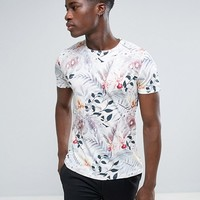 Esprit Crew Neck T-Shirt with All Over Palm Print at asos.com