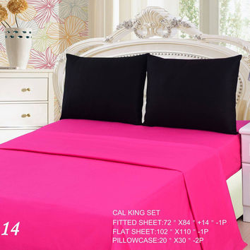 Tache 3 to 4 PC Cotton Solid Pink Superstar & Black Bed Sheet Set (BS4PC-BP)