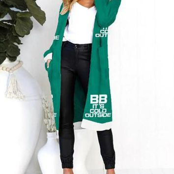 New Green Monogram BB It's Cold Outside Pockets Long Sleeve Chirstmas Casual Cardigan Sweater