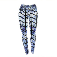 "Ebi Emporium ""Chevron Wonderland II"" Blue Black Yoga Leggings"