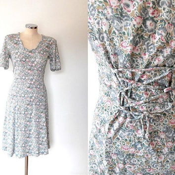 Pastil ditsy rose dress / pink / blue / green / vintage / 1940s style / stretchy cotton / scallop collar / lattice back / summer tea dress