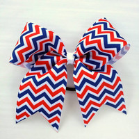 Medium cheer bow, red white blue cheer bow ponytail holder, cheerleading team bow, baton, dance, 2.5 inch ribbon, 6 inch bow, chevron bow