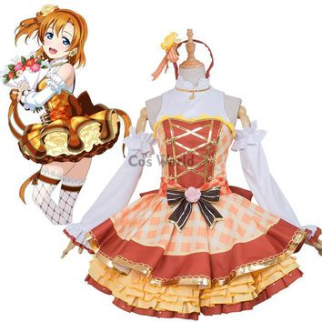 Love Live School Idol Project Kousaka Honoka Flower Bouquet Dress Uniform Outfit Anime Cosplay Costumes