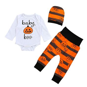 Newborn Infant Baby Clothes Set Girl Boy Pumpkin Romper Top+Pants+Hat Halloween   Sep26