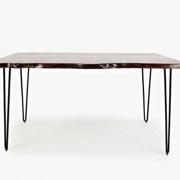 "Wooden 60"" Dining Table With Metal Hairpin Legs, Brown And Black"