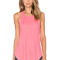Mini Thermal Hi Lo Paneled Tank in Juicy Pink