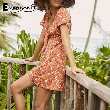 Everkaki Sexy Boho Backless Dress Women V-Neck Liberty Floral Pattern Printed Mini Short Dress Summer Bohemian Dress For Women