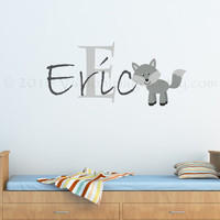 Childrens name wolf monogram wall decal, wall words sticker, decal, wall graphic , vinyl graphic wall decal,  typography, vinyl decal