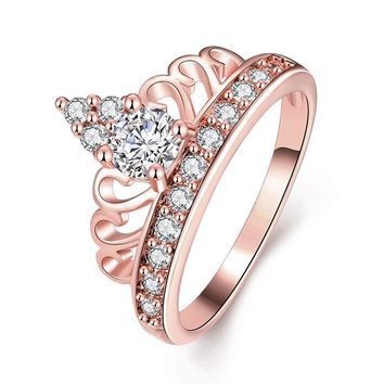 [BFQ]Vintage Rings For Women 2017 Hot Crown Rings Parure Bijoux Femme Zircon Copper Ring As Gifts For Best Friend Jewelry