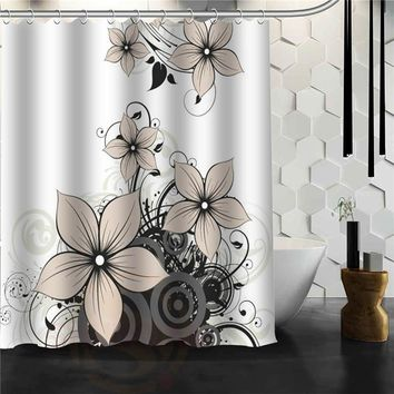 Custom flower pattern  Shower Curtain Bath  Novelty Polyester Fabric Waterproof Curtain Hooks