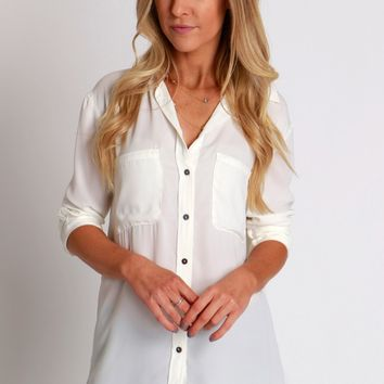 Ivory Pocket Button Down
