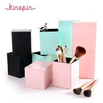 LMFONHS KINEPIN Makeup Brushes Holder Magnetic Make Up Brush Pen Holder Cosmetic Tool Organizer Empty Portable PU Leather Container