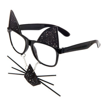 Halloween Black Cat Frames with Glitter Ears, Nose and Whiskers