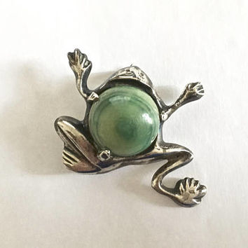 Vintage Sterling Silver, made in Mexico, Dancing or Leaping Frog Pin Brooch with Center Cabochon Malachite Stone, Fun Frog Figural