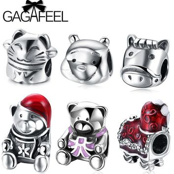 GAGAFEEL Super Cute Animal Cat Bear Charm Beads Fit Pandora Bracelets Necklace Solid 925 Sterling Silver Beads Jewelry Making