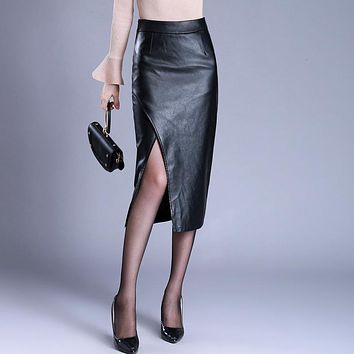 New Autumn Winter Faux Leather Skirt Europe Fashion Sexy Side Slit Pencil Skirt High Waist Slim Midi Long Skirt