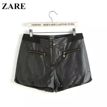 Women's Fashion PU Leather Zippers Pants Split Shorts [6034554049]