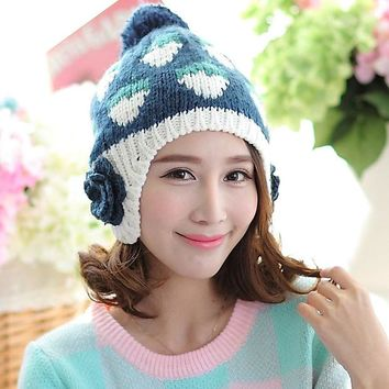 LMF9GW Strawberry Pattern Large Flowers Women Winter Warm Ear Muff Hat With Hair Ball Autumn Handmade Braided Knitted Beanie Cap