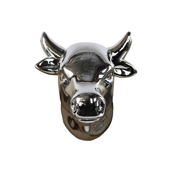 Ceramic Cow Head Wall Decor Polished Chrome Silver | Overstock.com Shopping - The Best Deals on Accent Pieces