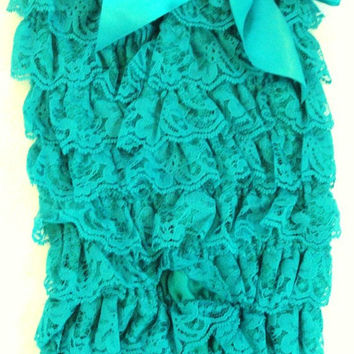 St Patricks Day Baby Outfit-Blue Green Turquoise Lace Petti Romper-Preemie Girl-Newborn-Infant-Child Clothes-Birthday Cake Smash-Chic-Fancy