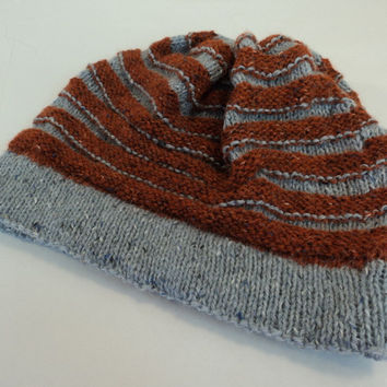 Handcrafted Ridged Slouchy Hat Rust Gray Merino Wool Alpaca Vicose Mix Female -- New No Tags
