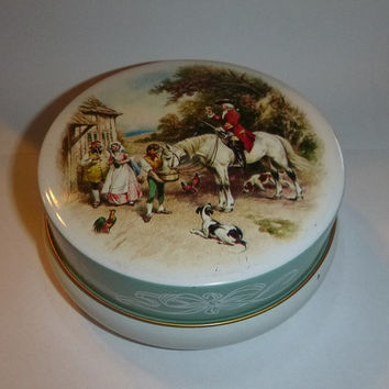 Colonial Toffee Tin, Vintage Riley's Candy, English Countryside Horse Collectible Decorative Tin, Colorful Collector Storage Tin Case