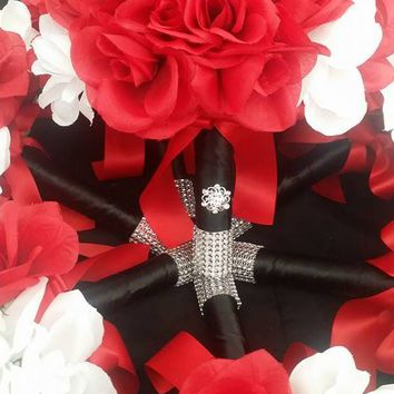 Red White Black Artificial Silk Rose Bouquet Set! Silk Rose Wedding Bouquet Collections