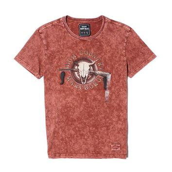 Print Short Sleeve Vintage Weathered Rinsed Denim Men Round-neck T-shirts [11965672787]