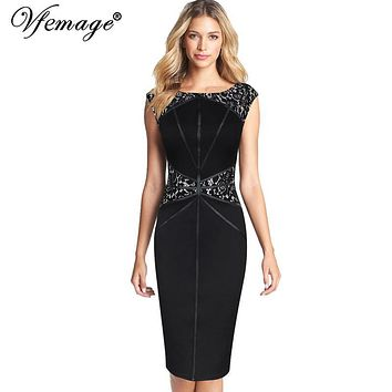 Vfemage Womens Elegant Contrast Lace Patchwork Vintage Slim Tunic Wear to Work Office Business Bodycon Wiggle Pencil Dress 7200