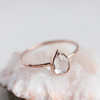 White topaz gold ring, rose gold, yellow gold, white gold, pear cut, delicate, solid 14k gold thin stacking ring, eco friendly, engagement