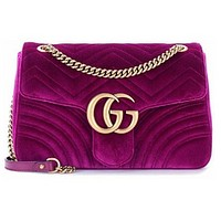 GUCCI women's stylish mid-size velvet shoulder bag F