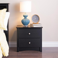 Broadway Black 2-drawer Nightstand | Overstock.com Shopping - The Best Deals on Nightstands
