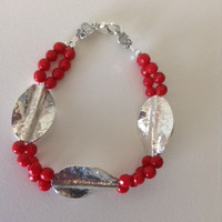 Calypso, bracelet, Red Coral, Hill Tribe Silver, beaded bracelet, red and silver, womens jewelry