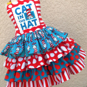 Custom Boutique Dr Seuss Cat in Hat Ruffle Dress Girl 2 3 4 5 6 7 8