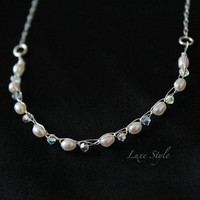 Pearl Necklace Wire Wrapped Sterling Silver Necklace Swarovski Design Handmade Jewelry Luxe Style