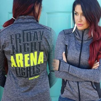 FRIDAY NIGHT ARENA LIGHTS (GRAY ZIP UP JACKET) - Ranch Dress'n