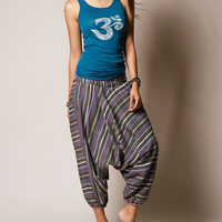 Emerald Stripe Harem Yoga Pants