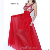 Sleeveless Illusion Neckline Formal Prom Gown By Sherri Hill 1945