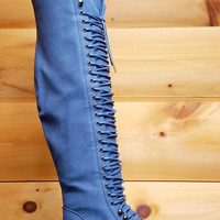 Mark & Maddux Blue Corset Lace Up Over the Knee Pirate Boot Travis 5.5-10